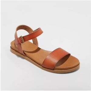 Nyla Faux Leather Cognac Ankle Strap Sandals